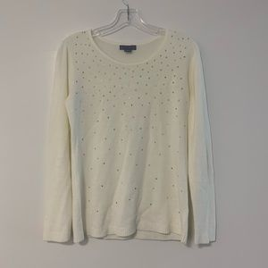 Laura Scott White Knit Bedazzled Sweater